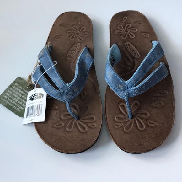 ce06525dd701 KEEN Florence II Blue Leather Flip Flops size 7
